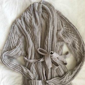 Tan knit bulky wrap cotton blend cardigan S